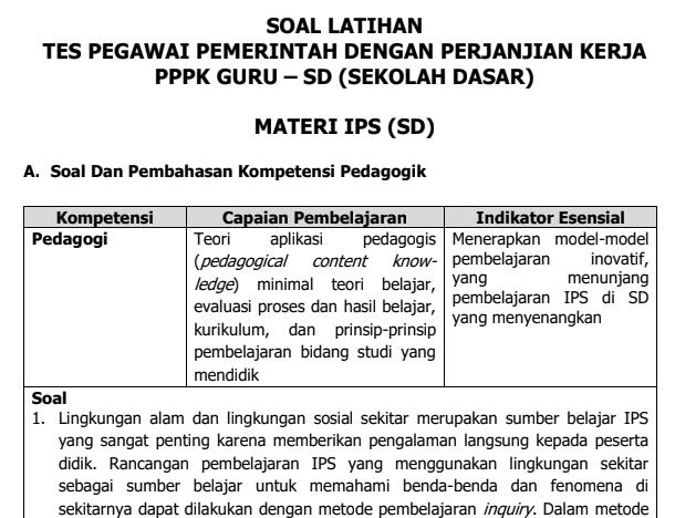 Soal Tes Latihan Seleksi Guru PPPK Materi IPS Untuk SD