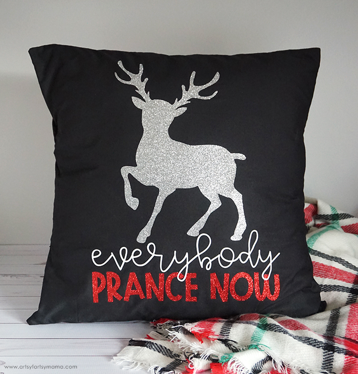 DIY Reindeer Prance Pillow with Free Cut File