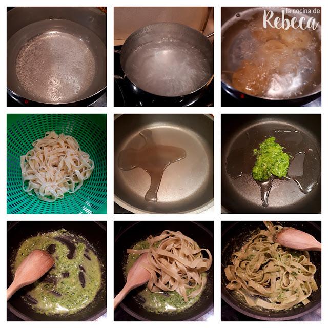 Receta de pasta al pesto: cocción y terminación del plato