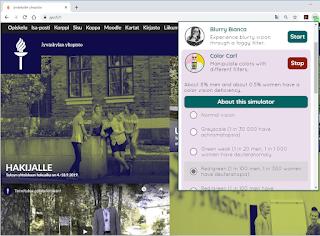 Ruudunkaappauskuva Jyväskylän yliopiston verkkosivuista punavihersokean suotimen läpi nähtynä.