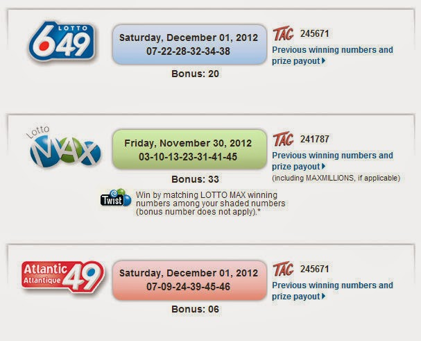 Canada Lottery Numbers