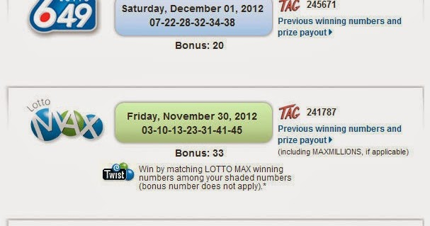 Canadian Lottery Numbers