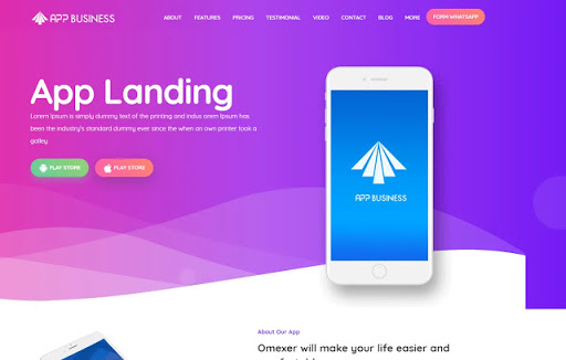 App Business Landing Page Blogger Template