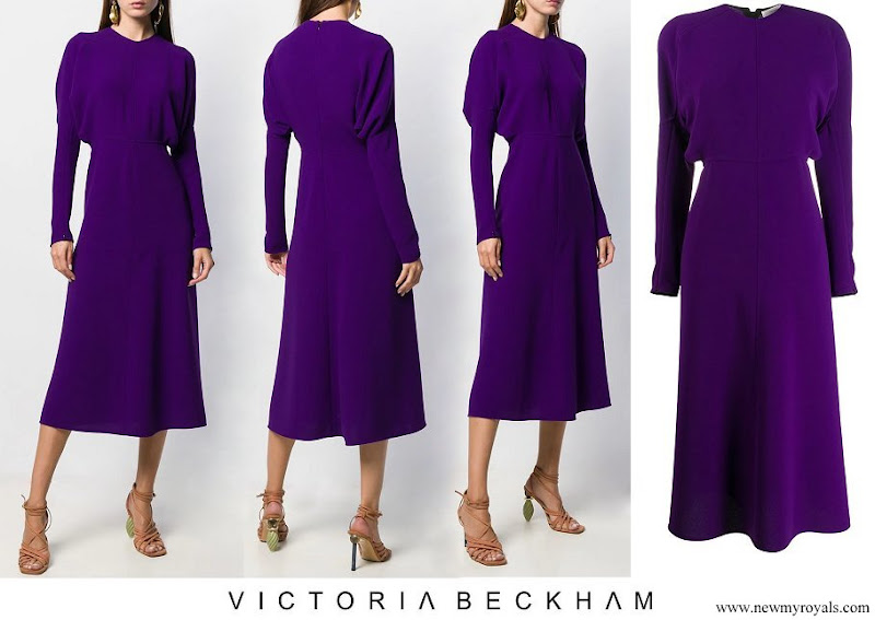 Queen Maxima wore Victoria Beckham puffled sleeves dolman midi dress