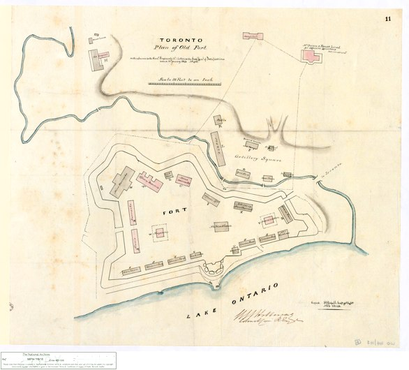 Toronto. Plan of Old Fort, 1846 by WCE Holloway