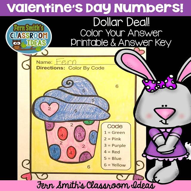 Fern Smith's Classroom Ideas Valentine's Day Dollar Deal Color By Code for Numbers on TeacherspayTeachers, TpT.
