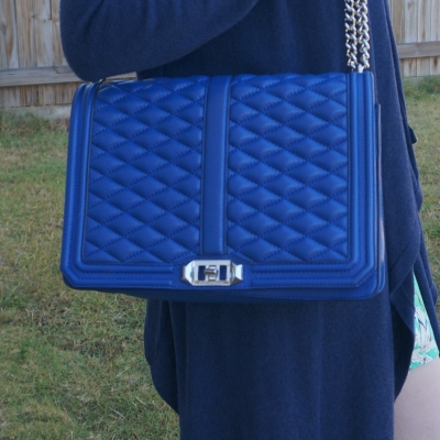 Rebecca Minkoff quilted jumbo Love bag in cobalt with navy cardigan | awayfromtheblue