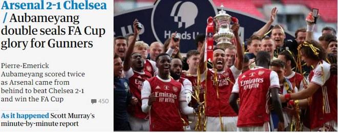 Arsenal vô địch FA Cup: Người hùng Aubameyang bùng nổ, báo chí Anh ngả mũ