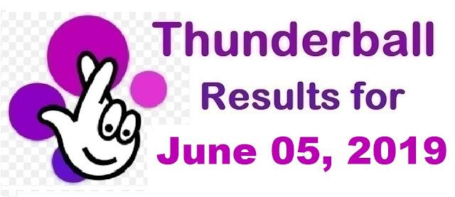 Thunderball results for Wednesday, June 05, 2019