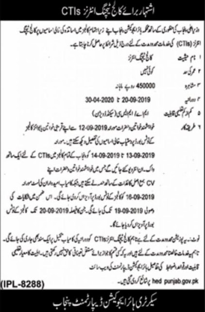 CTI Jobs 2020-21 Punjab Application Forms
