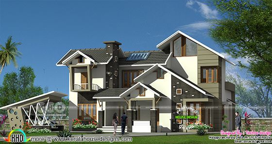 Ultra modern 4 bedroom sloping roof Kerala home