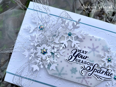 Glistening Christmas snowflakes are a beautiful way to wish friends a lovely Christmas, even when you live in Australia like the card creator, Andrea Sargent.