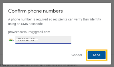 recipient mobile number for confirm code
