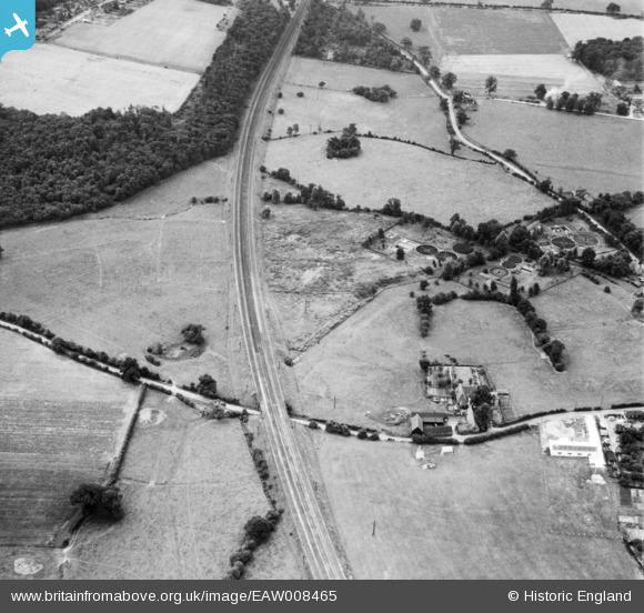 Photograph of Railway (LNER) line, Welham Green, 1947 Original Britain From Above caption