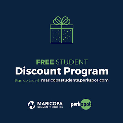 Graphic reads Free Student Discount Program, sign up today. maricopastudents.perkspot.com