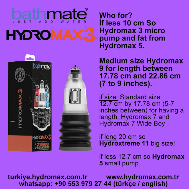 Bathmate Hydromax 3 penis Pump Size Chart. Best penis pumps from Bathmate.