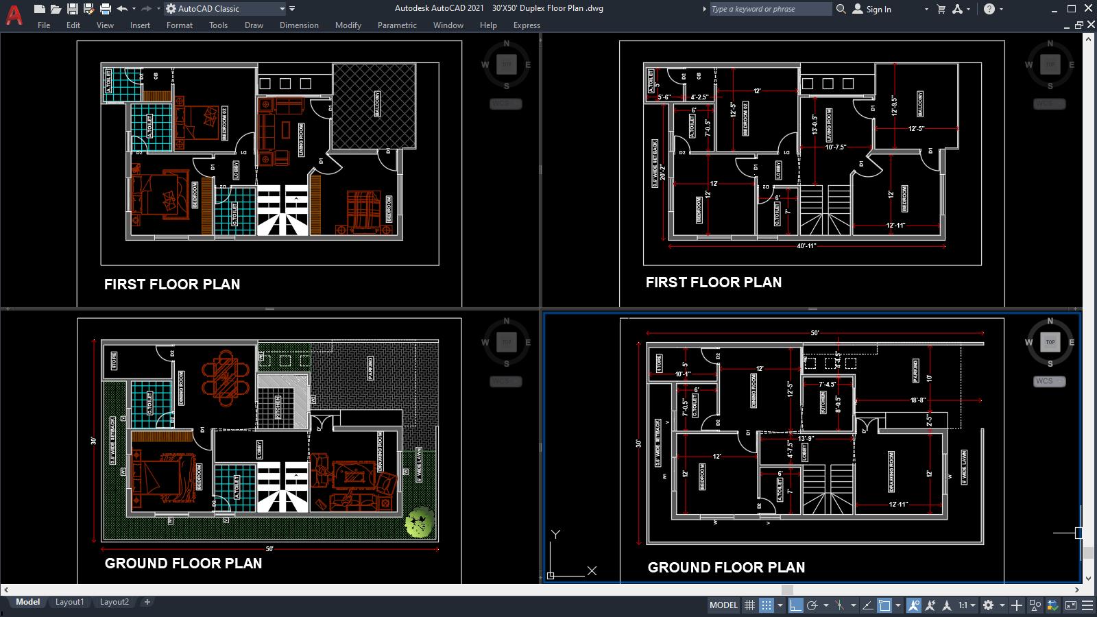 30 X50 Duplex Floor Plan Dwg Pdf