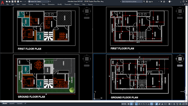 30'X50' Duplex Floor Plan [DWG, PDF]
