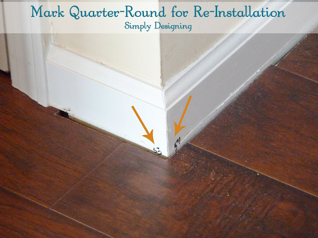 Mark Quarter-Round and Molding for Re-Installation | #diy #homeimprovement #flooring #molding | Simply Designing