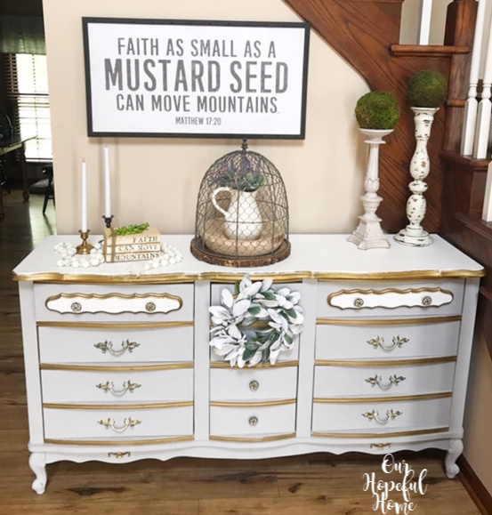Matthew 17:20 mustard seed gray French provincial dresser farmhouse cloche