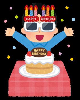 誕生日の男性のイラスト(サングラス)
