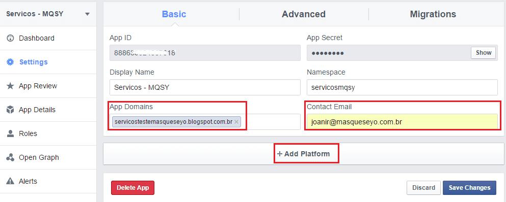 Como colocar comentários do Facebook e deixá-los juntos com os do Blog - Criando aplicativo