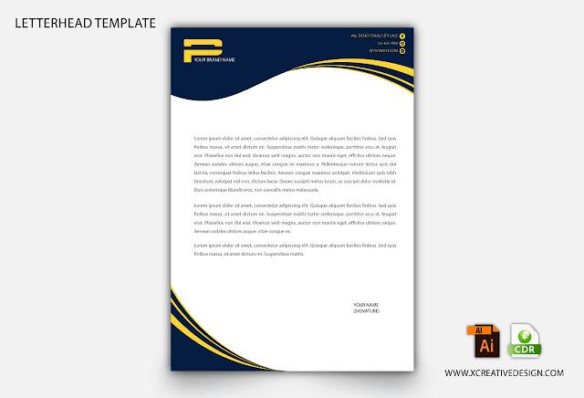 Yellow & blue corporate letterhead template design