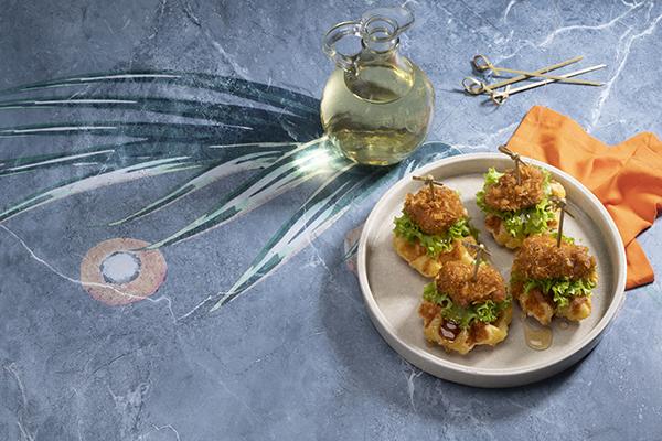 Recetas-aceite-palma-gastronomia-miniwaffles-pandebono-pollo-frito-miel