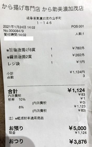 から揚げ専門店 から助 美濃加茂店 2021/1/24 のレシート