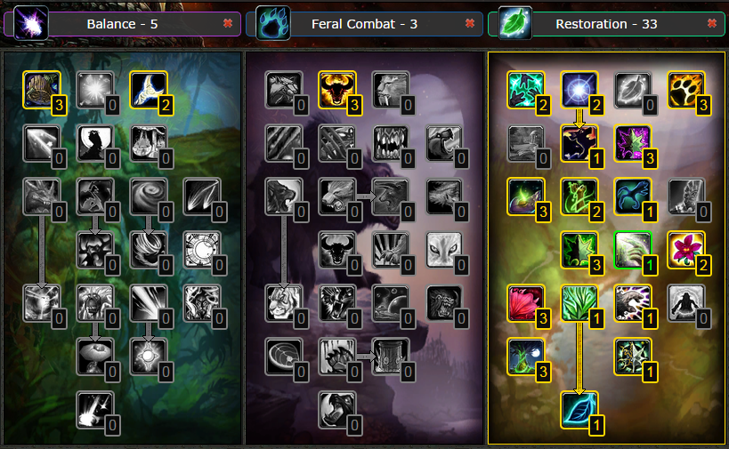 Wow Best Pvp Pve Talent Leveling Guide Pvp Restoration Druid Talent Glyphs Guide Wow Cataclysm 4 3 4 Level 85