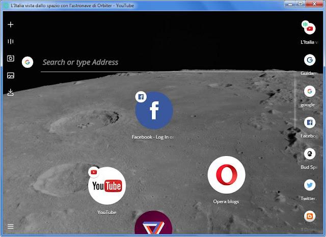 Opera Neon schermata iniziale
