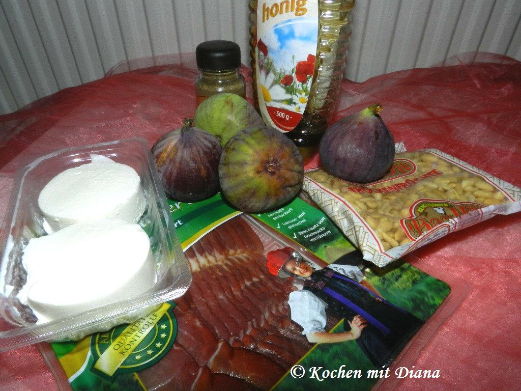 Zutaten Feigen mit Ziegenkäse und Honig