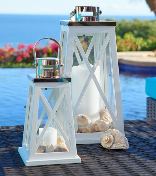 White Candle Lanterns for Coastal Style Living