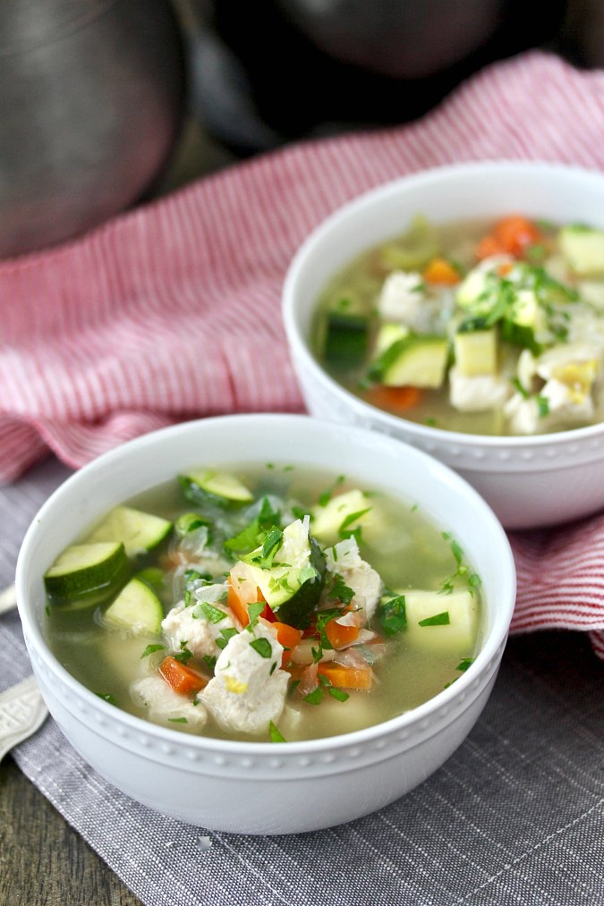 Crock Pot Italian Chicken and Orzo Soup with carrots