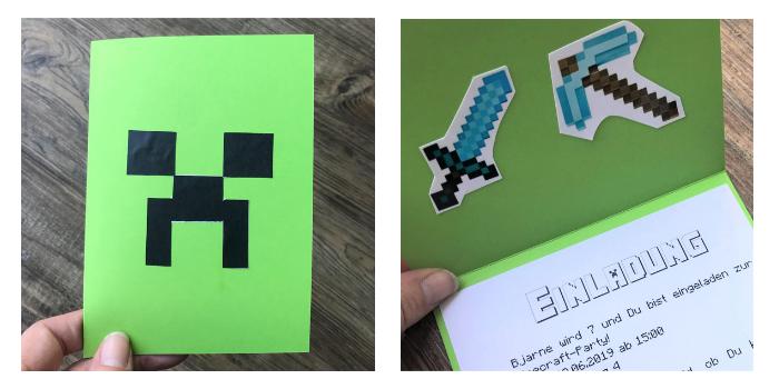 Einladung zum Minecraft Geburtstag mit Creeper
