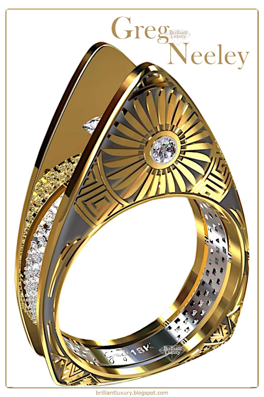 ♦Greg Neeley Hopi Pottery Ladies Diamond Ring #gregneeley #jewelry #brilliantluxury