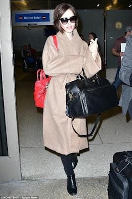 Lily Collins tory burch Weekender Bag