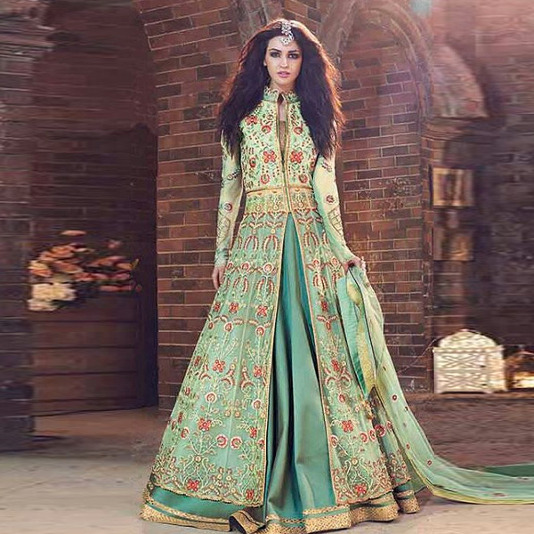 Zoya Emerald Sea Green Georgette Dress - Kaseesh Online