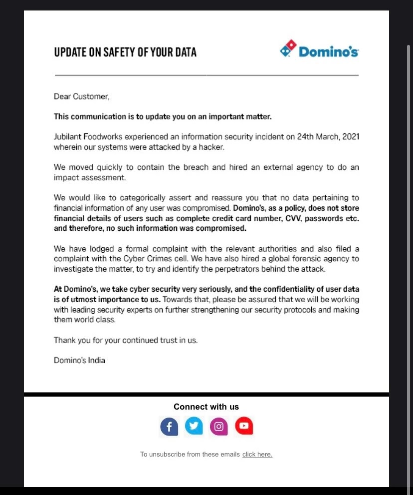 Statement From Dominos India