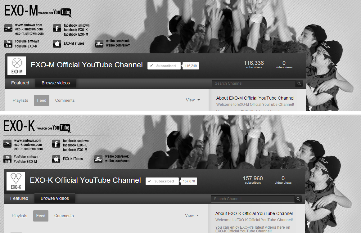 130519 EXO Official Youtube Channel Layout Change - EXOdicted - EXO Fansite