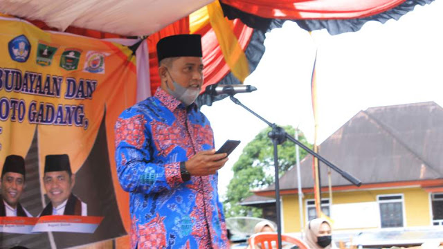 Jon Firman Pandu, Wakil Bupati Terpilih Kabupaten Solok saat beri kata sambutan di acara Grand Design Pemajuan Kebudayaan Nagari Koto Gadang Koto Anau, Sabtu 3 April 2021. (Dok. Istimewa)