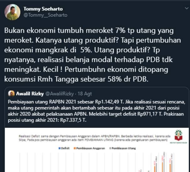 Bandingkan Era Soeharto, Akun Fake Tommy Soeharto: Jokowi Tak Ada Prestasi di Bidang Pertanian