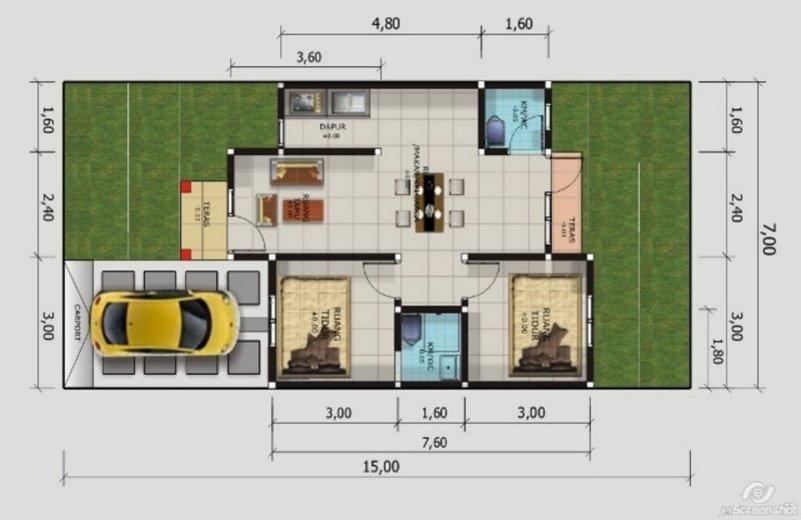 denah rumah minimalis 7x9 1 lantai 2