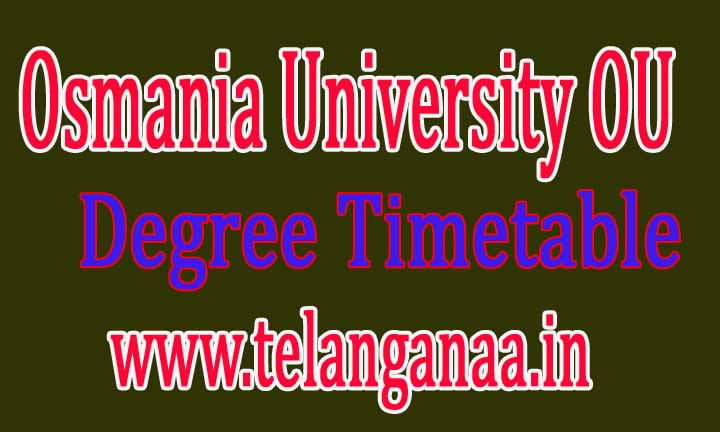 Osmania University (OU)Degree Supply Timetable 2016 Download
