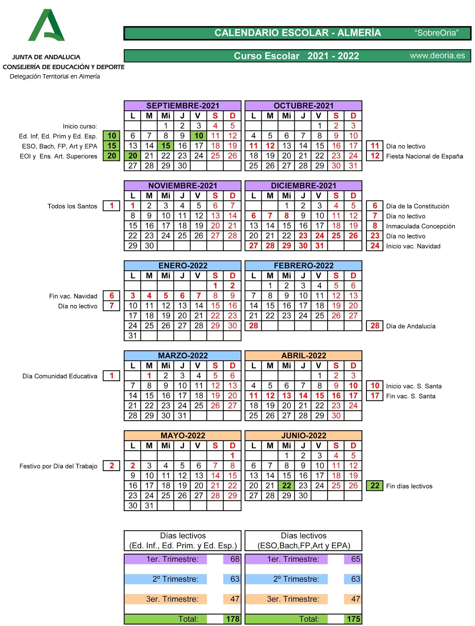 Calendario escolar 2021/22