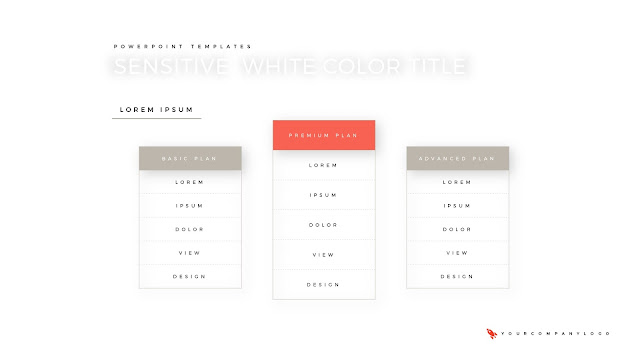 Pricing Table of Premium PowerPoint Template with Whit Title