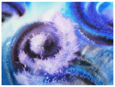 Abstract Water Vortex Blue bestselling watercolor painting by Irina Sztukowski