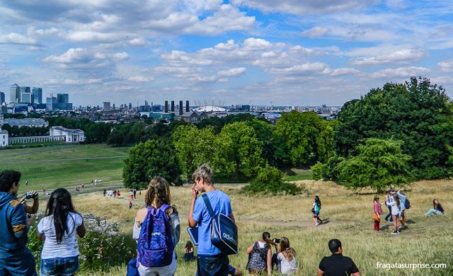 Londres vista do mirante em frente ao Observatório Real de Greenwich