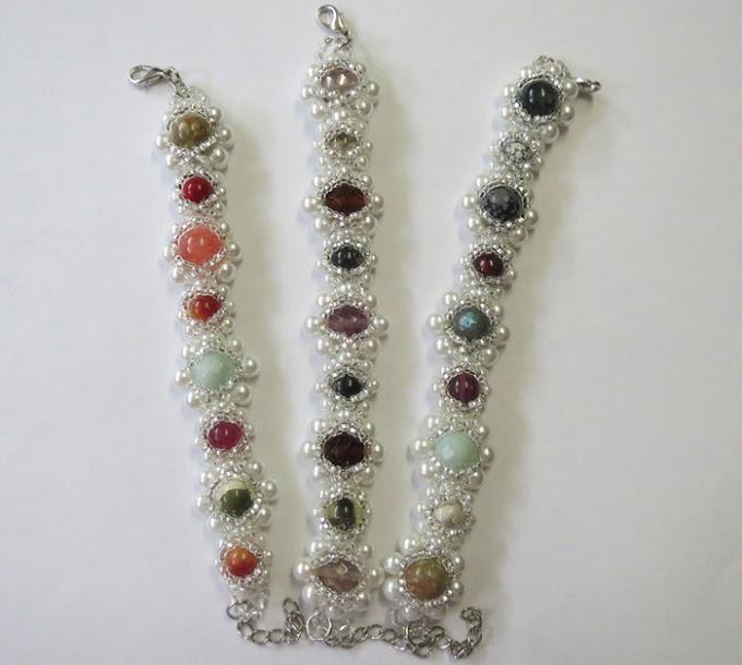 3 st pärlade armband