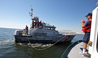 47' Motor Lifeboat. witn Launch 5 setting up tow. Photo by Greg Porteus